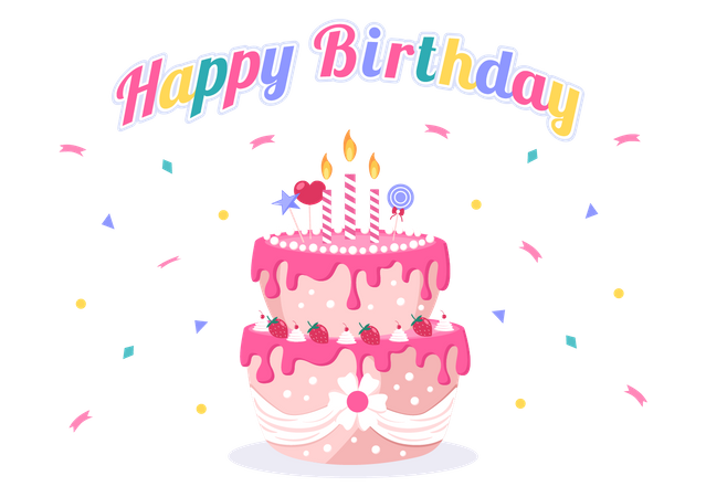 Birthday Party Cake Illustration