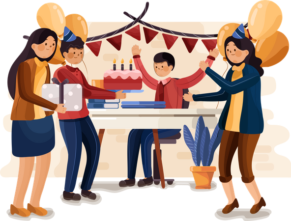 Birthday party in the office Illustration