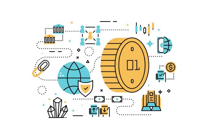 Bitcoin and finance line icons illustration Illustration