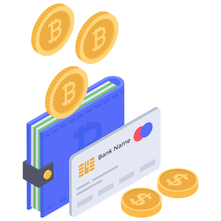 Bitcoin bank Wallet Illustration