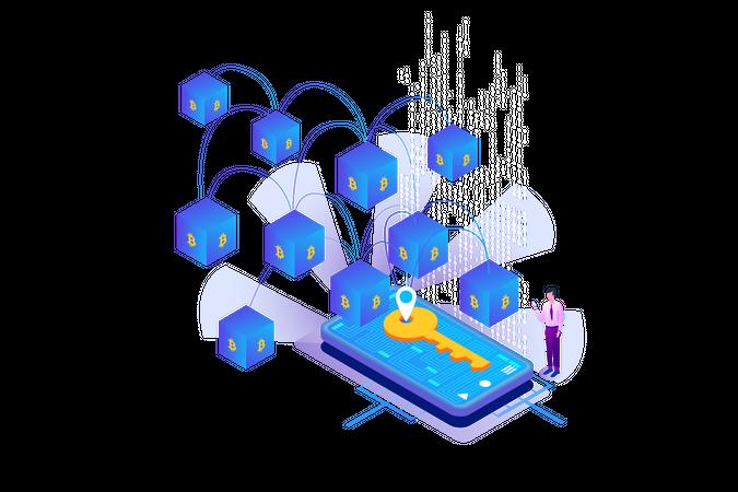 Bitcoin Blockchain Key Illustration