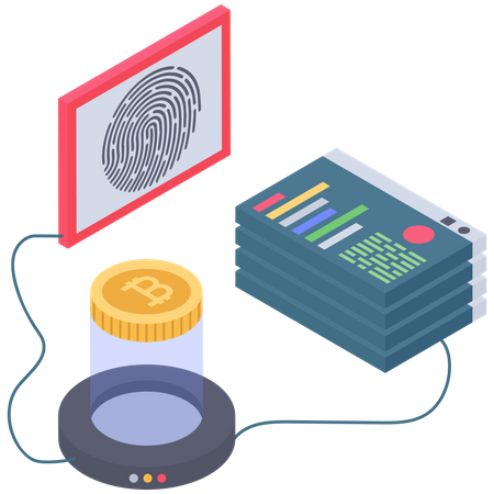 Bitcoin digital Fingerprint Security Illustration