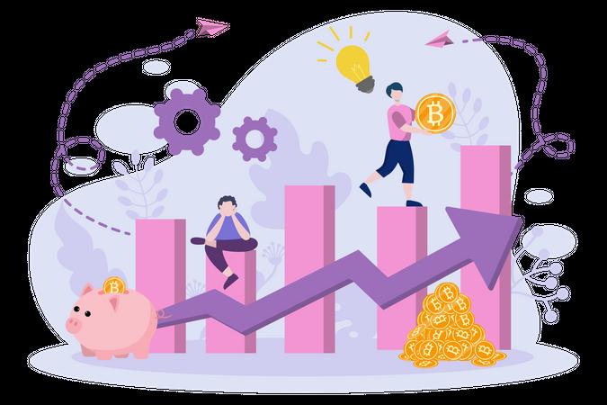 Bitcoin Investment growth Illustration