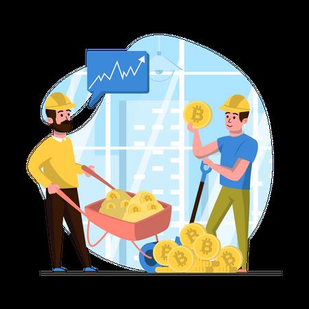 Bitcoin Mining Illustration