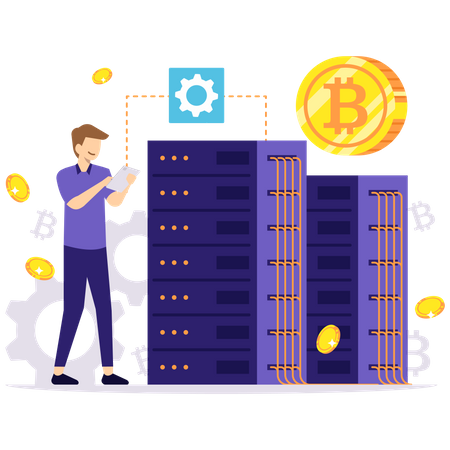 Bitcoin mining server Illustration
