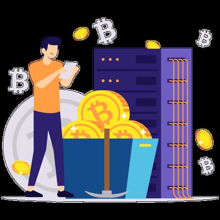 Bitcoin mining service Illustration