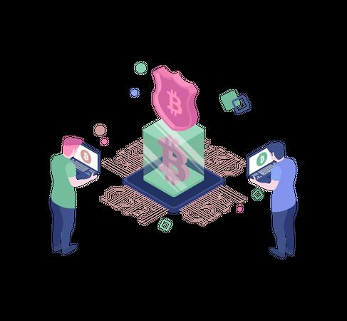 Bitcoin secure transaction Illustration