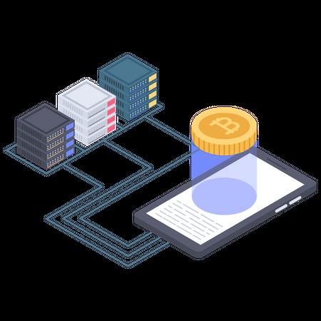 Bitcoin server connection Illustration