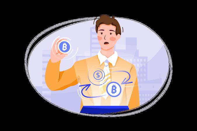 Bitcoin to dollar Exchange Illustration
