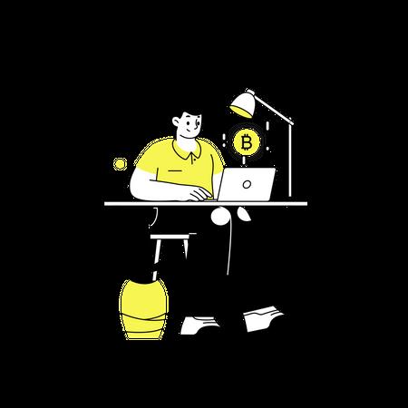 Bitcoin trader Illustration