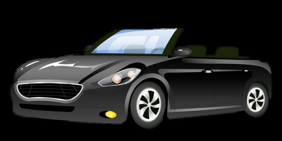 Black Cabriolet Car Illustration
