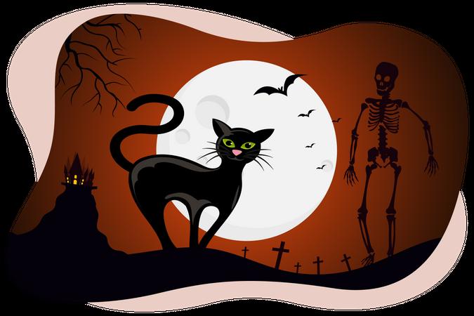 Black cat and man skeleton Illustration