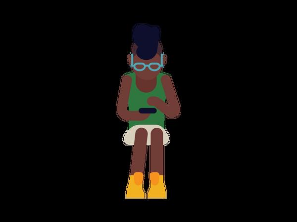 Black girl surfing internet in her phone Illustration