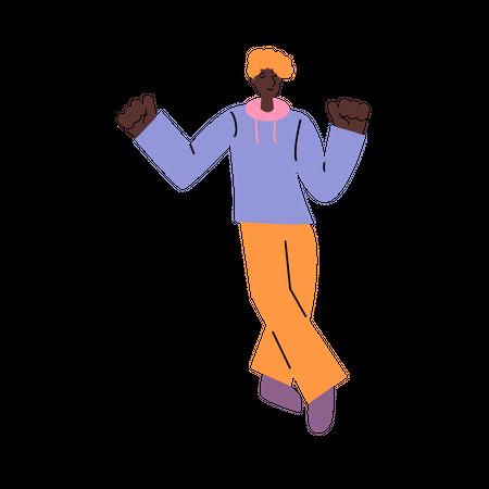 Black male teenager doing dance move Illustration