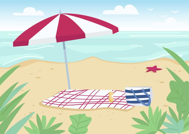 Blanket and sun umbrella on sand beach Illustration