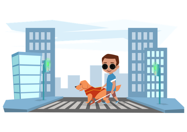 Blind boy crossing road with help of dog Illustration