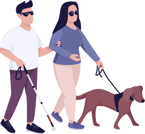Blind man and woman with guide dog Illustration
