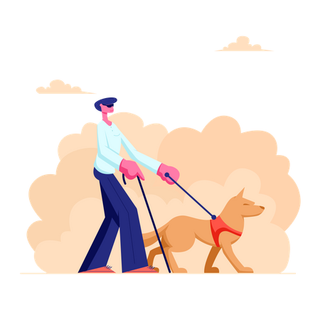 Blind Man Walking with Guide Dog Illustration
