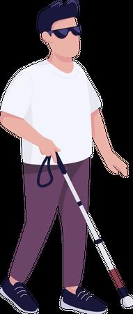 Blind man with walking cane Illustration