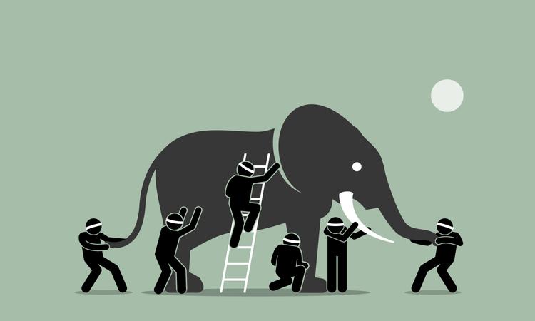 Blind men touching an elephant Illustration