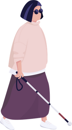 Blind woman with walking stick Illustration