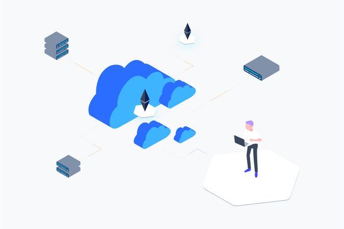 Blockchain Cloud Computing Illustration