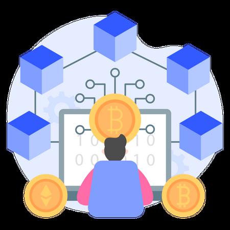 Blockchain Cryptocurrency Illustration