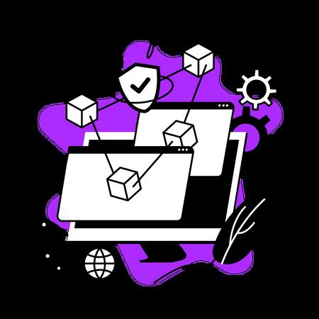 Blockchain management Illustration