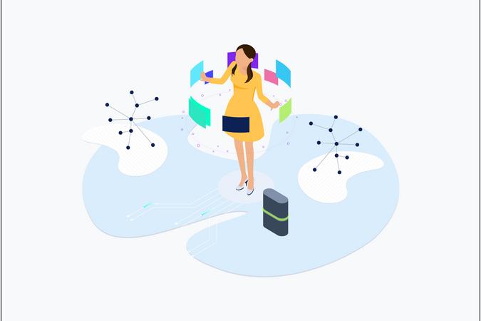 Blockchain Platform AR Lab Illustration