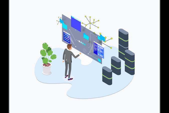 Blockchain Platform of data gathering using ar technology Illustration