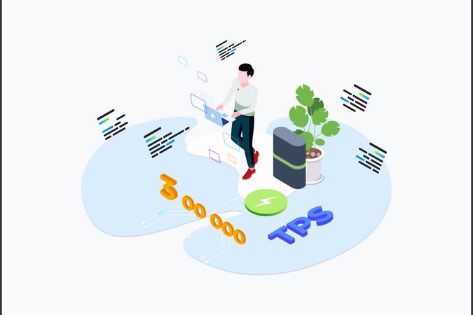 Blockchain Platform Transaction Per Seconds Illustration
