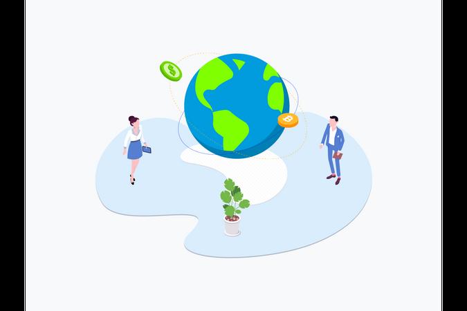 Blockchain Platform Transfers Illustration