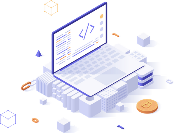 Blockchain solutions Illustration