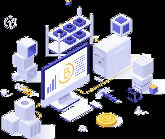 Blockchain technology service Illustration