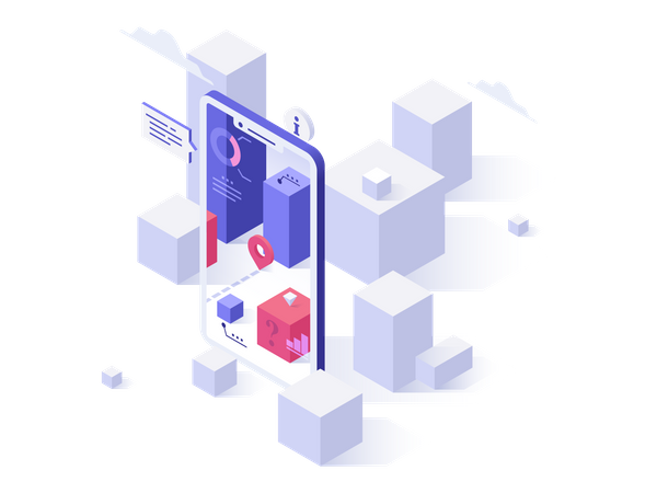 Blocks seen through smartphone with augmented reality mobile application Illustration