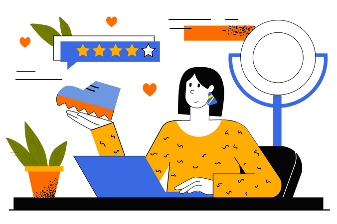 Blogger Doing Product Review Illustration