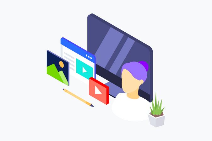 Blogger using various social platform for internet marketing Illustration