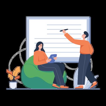 Bloggers working on creative writing Illustration