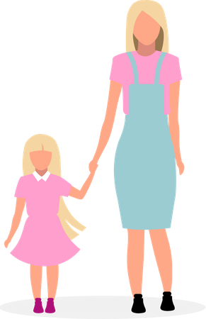 Blonde mother with cute daughter Illustration