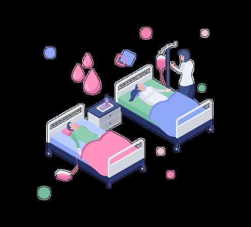 Blood transfusion Illustration