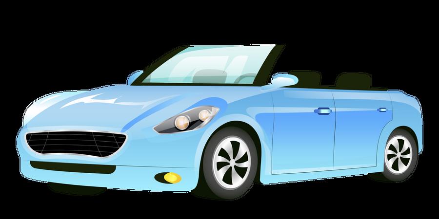 Blue Cabriolet Car Illustration