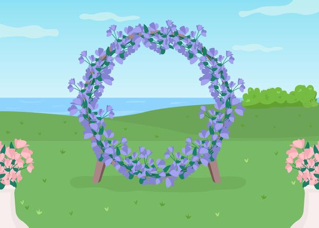 Blue floral arch Illustration