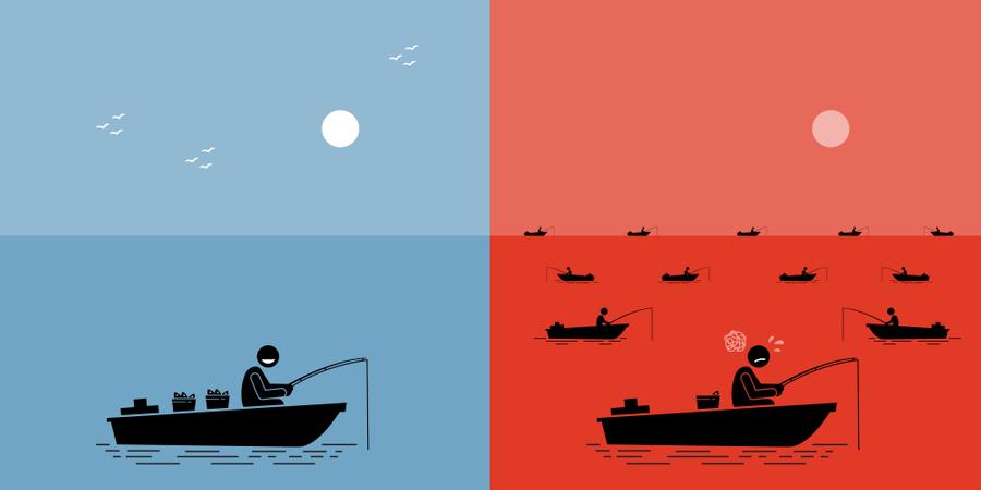 Blue Ocean Strategy vs Red Ocean Strategy Illustration