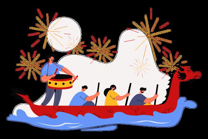 Boat racing on Dragon Boat Festival Illustration