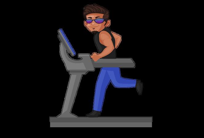 Body builder running on treadmill Illustration