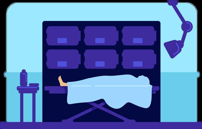 Body in hospital morgue Illustration