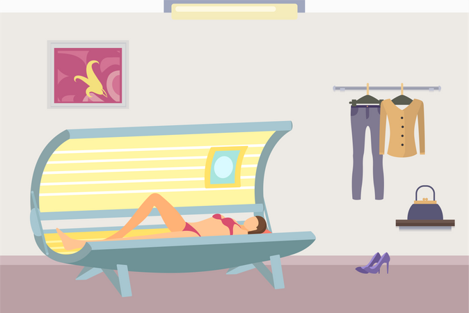 Body wrap and tanning in solarium of lady, parlor and clothes on hangers Illustration