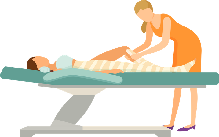 Body Wrap and Tanning in Solarium Parlor Illustration