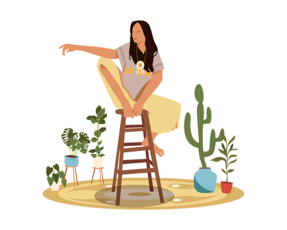 Bohemian girl Sitting on Chair Illustration