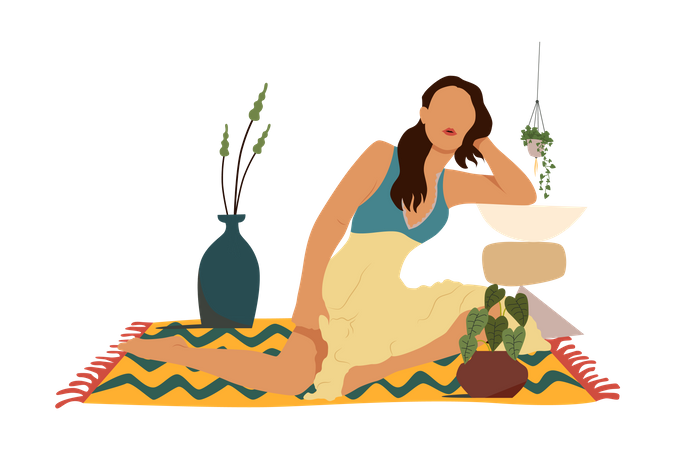 Bohemian woman Illustration
